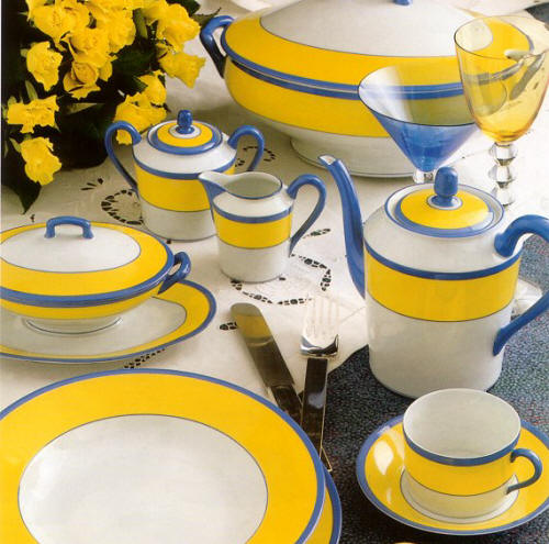 "A set of Haviland & Parlon (marked Charles Field Haviland Limoges) ""Monet"" china. It is a replica of the china Monet himself designed for use in his house in Giverny, France."
