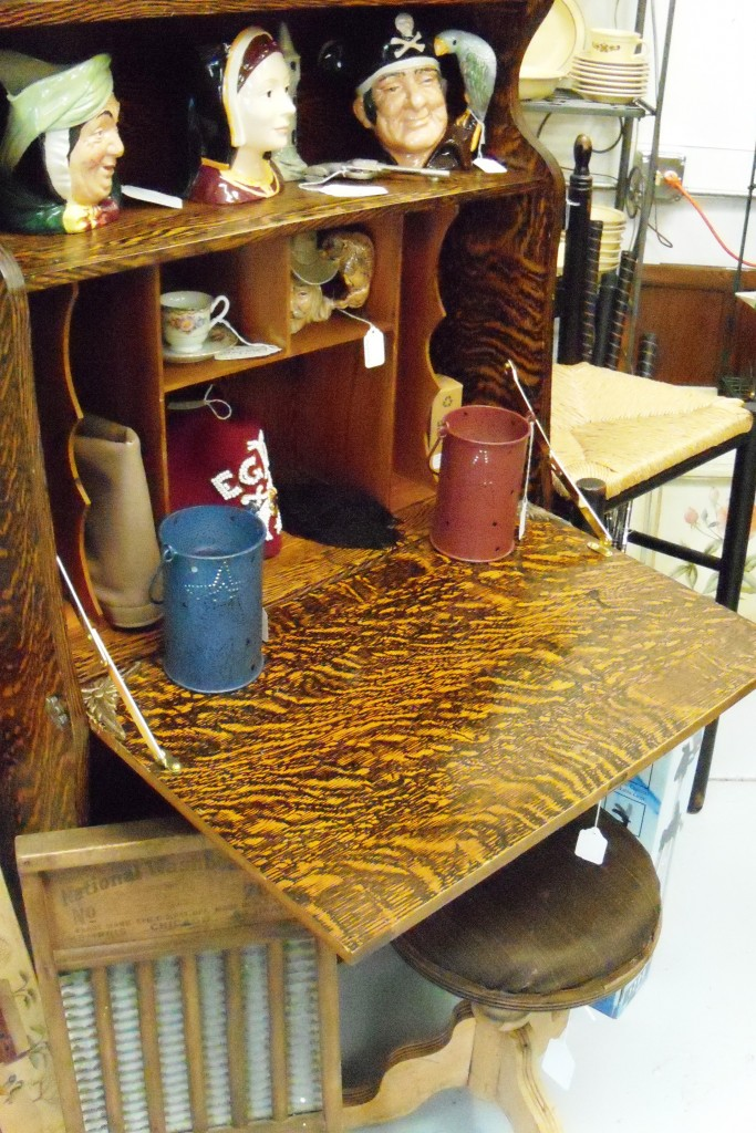 This fake quarter-sawn oak drop front desk was made using Sherwood's roller printing method on birch.