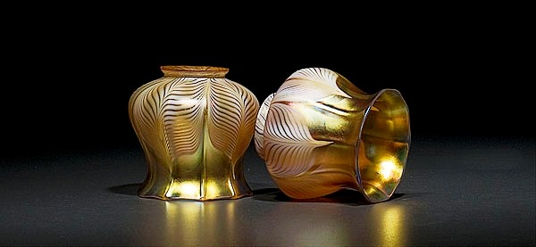 A pair of Quezal ribbed gold Aurene pulled-feather shades sold for $390.