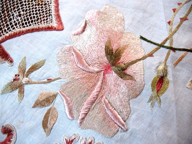 Antique and vintage society silk embroidery—painting with