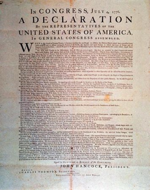 That stiff yellowing copy of the declaration of independence is it