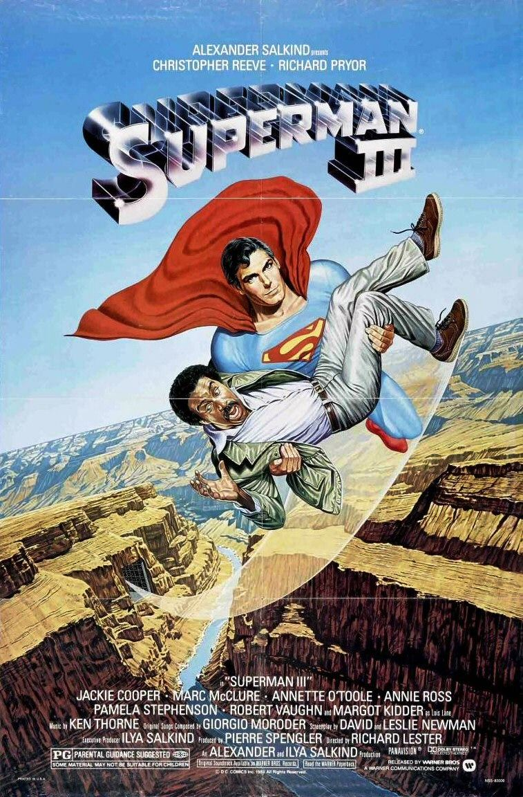 "The poster from the 1983 ""Superman III"" movie, costarring Richard Pryor, who plays a computer programmer under duress."