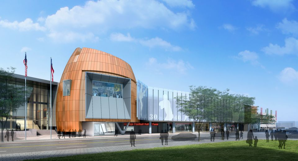 The new College Football Hall of Fame in downtown Atlanta will hold its grand opening on Aug. 23.