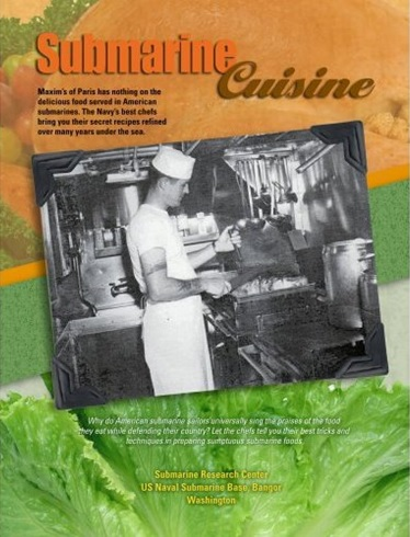 "Submarine food is prepared by the finest-trained chefs in the military and is one of the Navy's best-kept secrets. The very hard-to-find ""Submarine Cuisine"" adapts the intriguing recipes to family sizes."