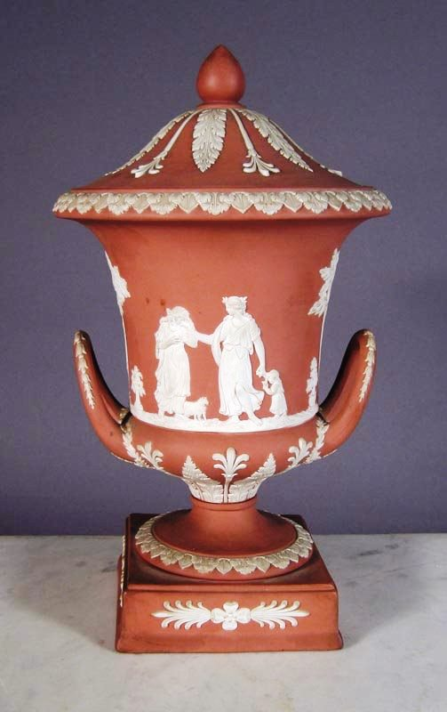 Jasperware was originally developed by Josiah Wedgwood during the mid-1700s and took advantage of new decorating trends, notably, in this case, copies of pieces found by early archeologists digging Greek and Roman ruins. Is this piece an antique of 18th- or 19th-century vintage or a 20th-century production? Know which helps define the value.