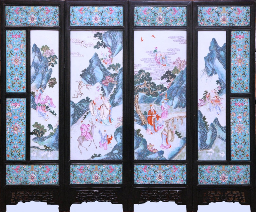This large, 19th-century Chinese porcelain screen consisting of four main panels, 38 ½ inches by 46 ¾ inches overall, is expected to realize between $30,000 and $40,000 or more at the Elite Decorative Arts' upcoming Fine Asian Carvings & Works of Art Auction, slated for June 14.