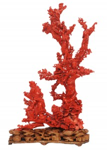 This extraordinary Chinese carved red coral figural group, 15 ½ inches tall, depicting a family tree, could bring as much as $20,000 to $30,000. The lot, which comes with a two-inch wooden base, is one of the finest carved figural groupings Elite Decorative Arts has ever offered—and it has offered many in past auctions.