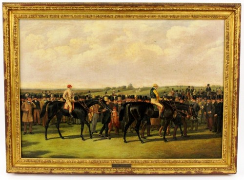 """This oil on canvas painting titled """"The Great Match, York-Spring Meeting Day"""" by John Frederick Herring, Sr., depicts the famous horse race between two of the most well-regarded British thoroughbred horses of the 19th century, Voltigeur and The Flying Dutchman."""