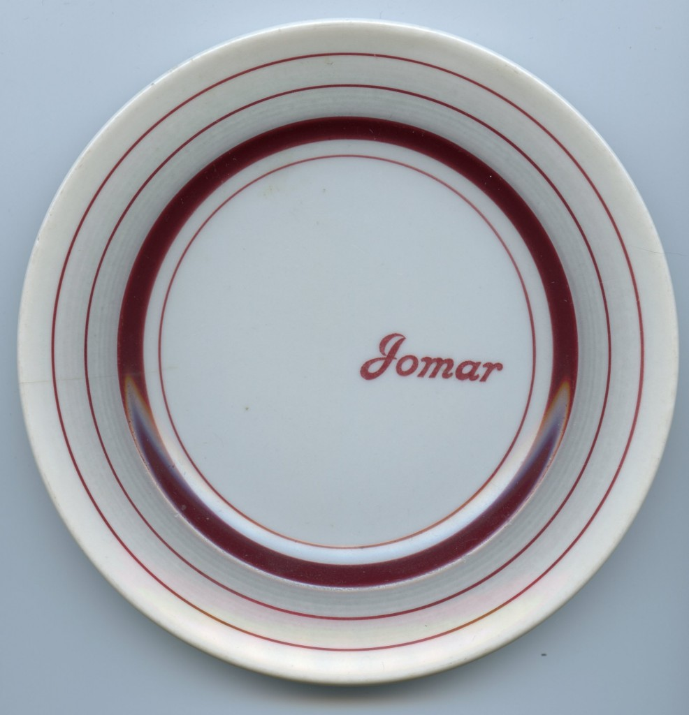 The Jomar name appeared on the front of the plates.