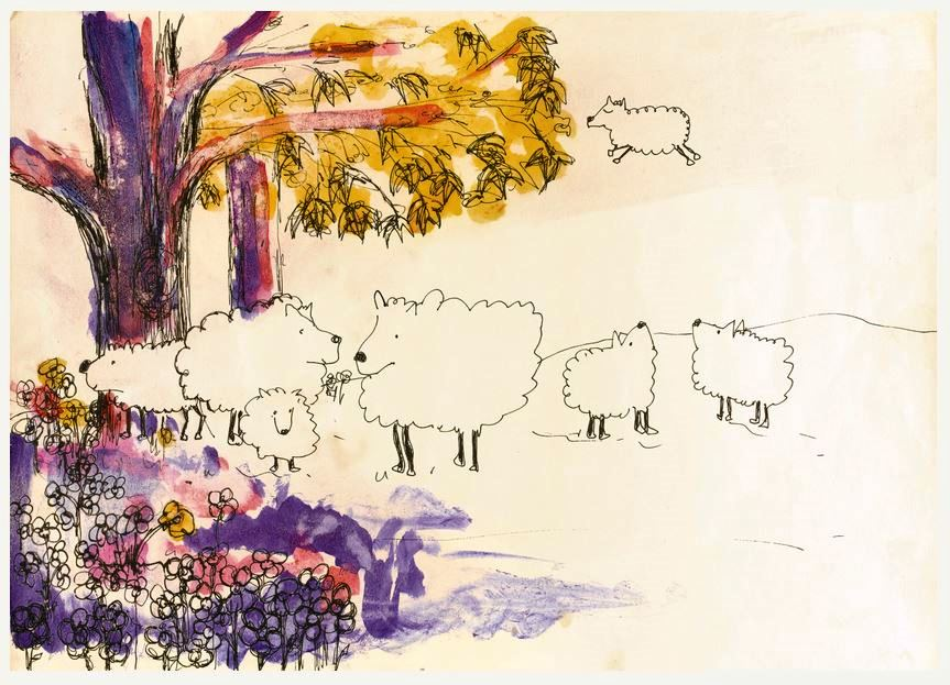 """""""Oh Dear Sheep"""" From """"Bernice's Sheep,"""" and ink and watercolor drawing was expected to draw bids between $20,000 and $30,000. It sold for $81,250."""