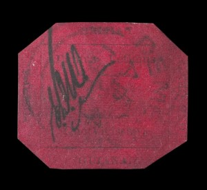 The new Most Expensive Thing in the World is this stamp; the 1856 British Guiana One-Cent Magenta. It sold on Tuesday night for $7.9 million ($9.48 with the 20-percent buyer's premium). Based on size and weight, according to Sotheby's, it makes it the Most Expensive Thing in the World.