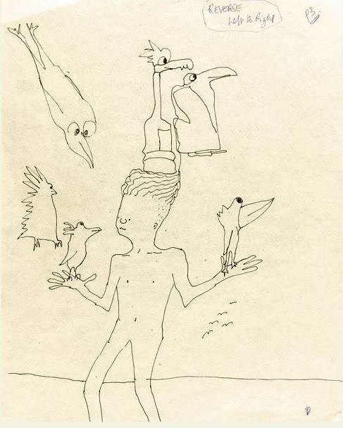 """""""Untitled Illustration of a Boy with Six Birds,"""" which was used as the cover illustration for The Beatles 1995 single, """"Free as a Bird,"""" brought $27,500."""