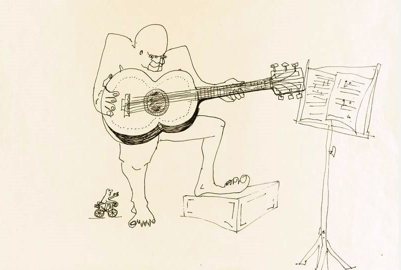 """""""Untitled Illustration of a Four-Eyed Guitar Player,"""" a black ink drawing penned by John Lennon, realized $109,375—the highest price paid for a drawing in the John Lennon: 'You Might Well Arsk': Original Drawings and Manuscripts, 1964-65 auction held at Sotheby's on June 4."""
