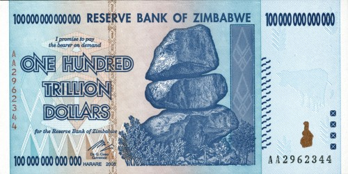 This Zimbabwe banknote for $100 trillion will be on display at the IPMS Show in Memphis.