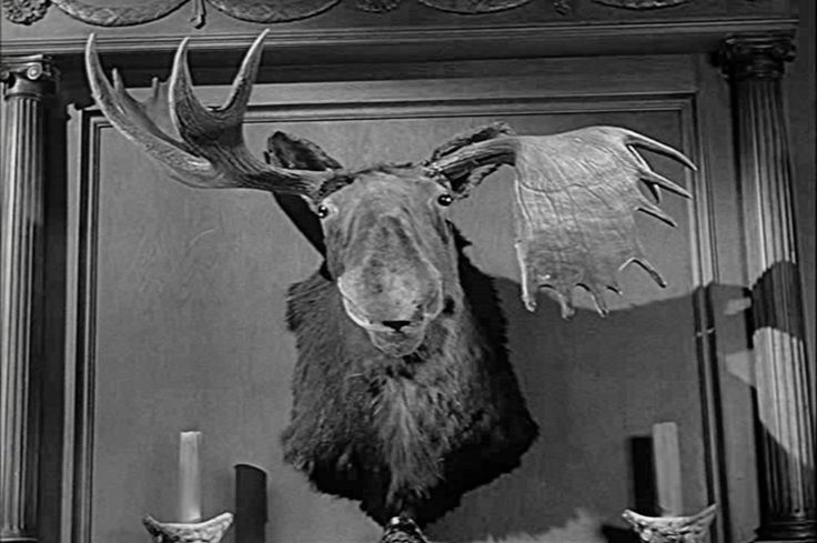 Pierre, the Moose, presides over the goings-on in the Addams' parlor.