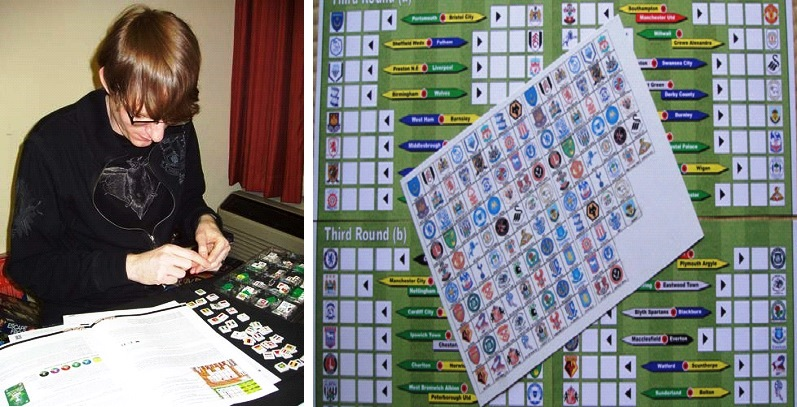 I rarely allow myself to be photographed, but in looking online for pictures of The World Cup Game, I found this one of me setting up The World Cup Game at a board gaming event (left). On the right is a fan-made expansion representing the South Africa 2010 Cup tournament with a complete tourney board and custom national flag chits. The game is rare, but still commands the attention of tabletop sports fans.