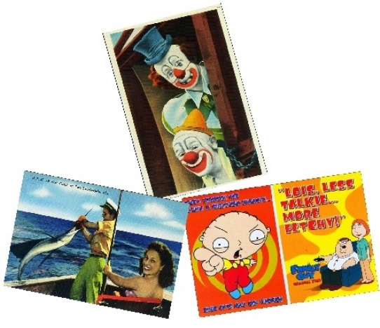 Pick out some postcards that touch on the interests of each family member, such as fishing, a love of clowns or television shows. Decide how you want to lay them out in a pleasing manner, taking into account color, subject and balance.