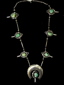 This large Navajo necklace created and signed in 1974 by Ben Nighthorse Campbell, measures 44 inches long and is expected to realize $5,000 to $10,000.