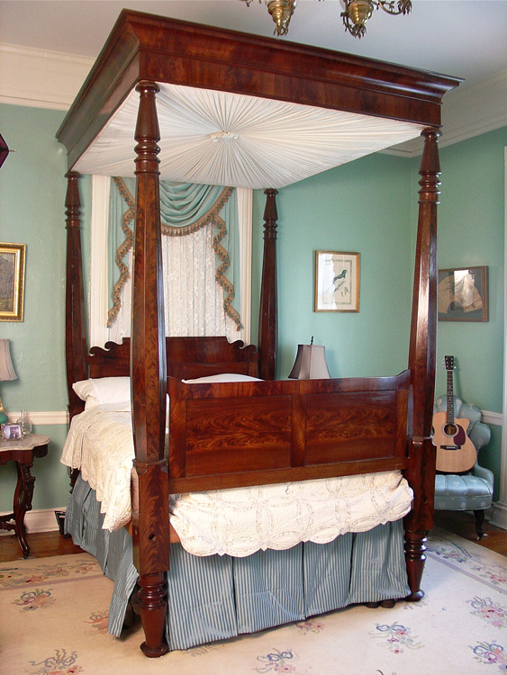 Made of empire flame mahogany, this full tester plantation bed, made circa 1850 and measuring 9 feet, 5 inches in height, are among the many items that will be up for auction.