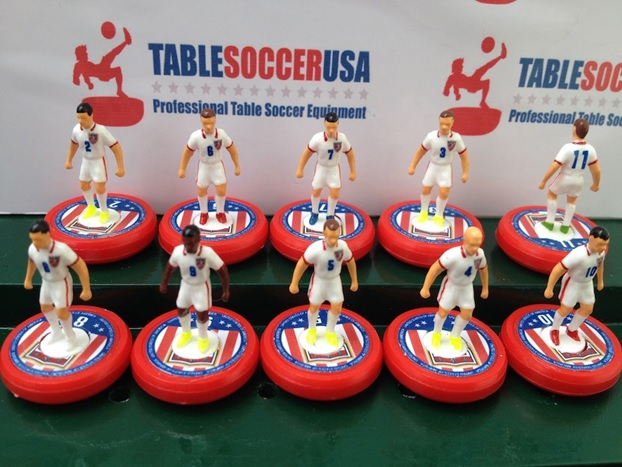 Here they are, the 2014 U.S. Men's National Team, in Subbuteo form, as they appeared recently in Brazil, featuring their home kit (uniforms). This set is custom made and currently sells for about $40 direct from the manufacturer.