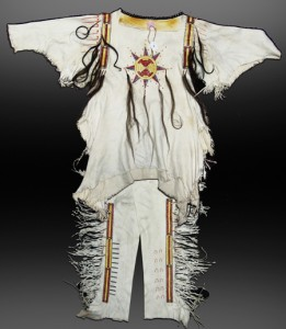 This hand-crafted white buckskin man's Mandan war shirt with matching leggings, made in the early 1900s, has a presale estimate of $4,000 to $8,000.