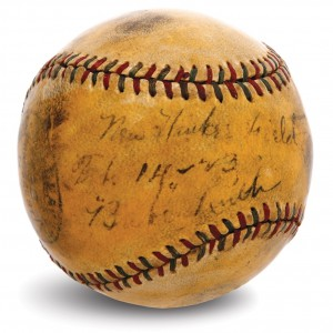This baseball is purportedly the first one hit out of Yankee Stadium. The bidding failed to reach the ball's minimum reserve amount of $50,000, possible because Ruth hit during a press conference showcasing the new stadium and not hit in an actual game.