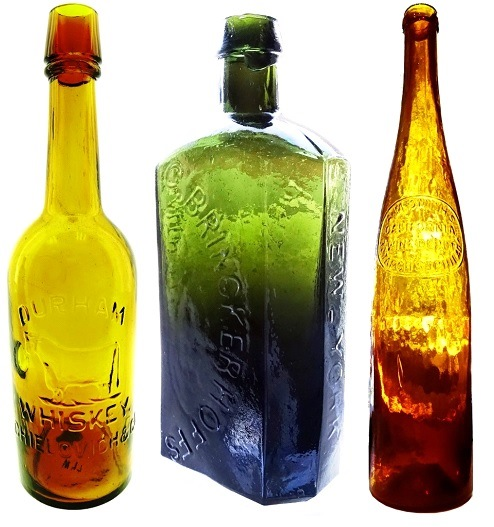 This Durham Whiskey western fifth bottle with embossed steer (left), made circa 1876-1882, one of six known could bring $5,000 to $10,000. This C. Brinkerhoff's very early medicine bottle (center) in a beautiful olive color, very crude, has a $1,000-$2,000 presale estimate, while this A. M. Smith's (California Wine Depot, 321 Arch St., Philadelphia) probable hock wine bottle (right), may hammer for $500 to $1,000.