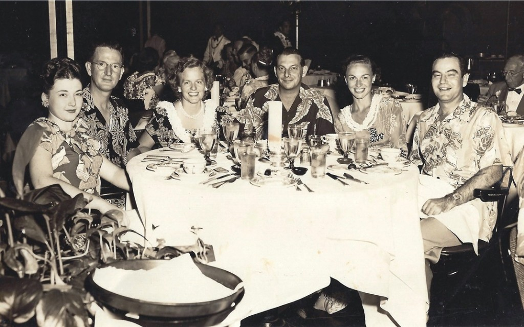 Howard and Gladys Hope (fourth and fifth from the right) wearing Hawaiian couture in the 1950s. Howard Hope asked his son Dale to come to work for him in 1973. (Photo: Dale Hope)
