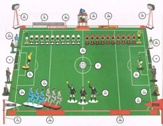 An illustration from a 1960s catalog shows some of the accessories that were available, including lights and figures for the coaching staff and officials.