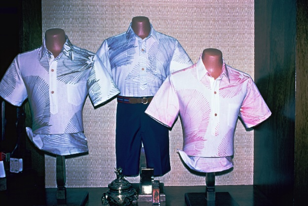 A display featuring shirts similar to one I bought and sold from the Liberty House department store in Honolulu, where HRH shirts were sold.