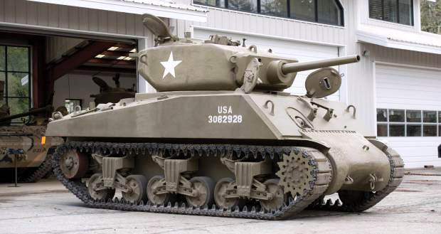 More than 100 tanks and other military vehicles from the collection of Silicon Valley engineer Jacques Littlefield, including this World War Two Sherman tanks, were sold at an auction facilitated by American Auctions and held on Friday and Saturday,  July 11-12.