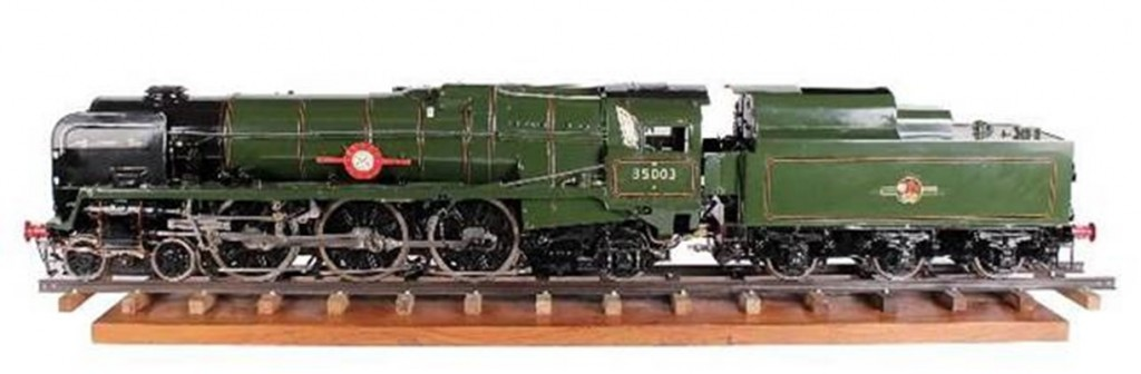 "This Merchant Navy Class 4-6-2 Tender Locomotive ""Royal Mail"" Number 35003, another large locomotive, is also estimated to sell for between $25,000 and $30,000."