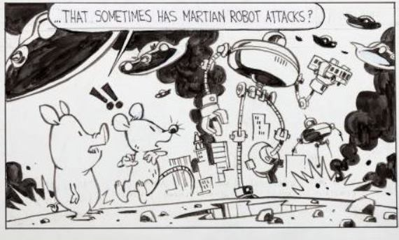 "A detail of one of the working comic strip panels drawn by ""Calvin and Hobbes"" creator Bill Watterson for the ""Pearls Before Swine"" strip earlier this year that was up for sale at Heritage Auctions. This strip was the high-seller of the three, realizing $35,850."