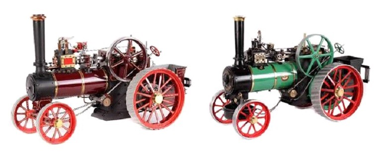 "This 1-inch scale model of the agricultural traction engine ""Minnie"" (left) and a 1½-inch scale model of a ""Royal Chester"" (right) could hammer for $500 apiece."