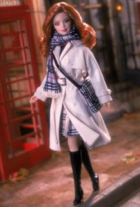 Barbie in a 2001 Burberry ensemble.