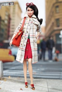Barbie in a Coach-inspired coat and bag set from 2013.