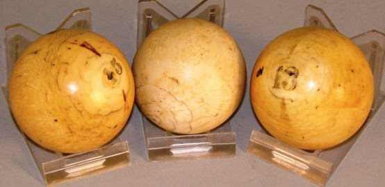 These three ivory billiard balls brought $190 at Eldred's Auction House in 2006. Today, it could be expected to carry no real value and bring headaches if purchased illegally.