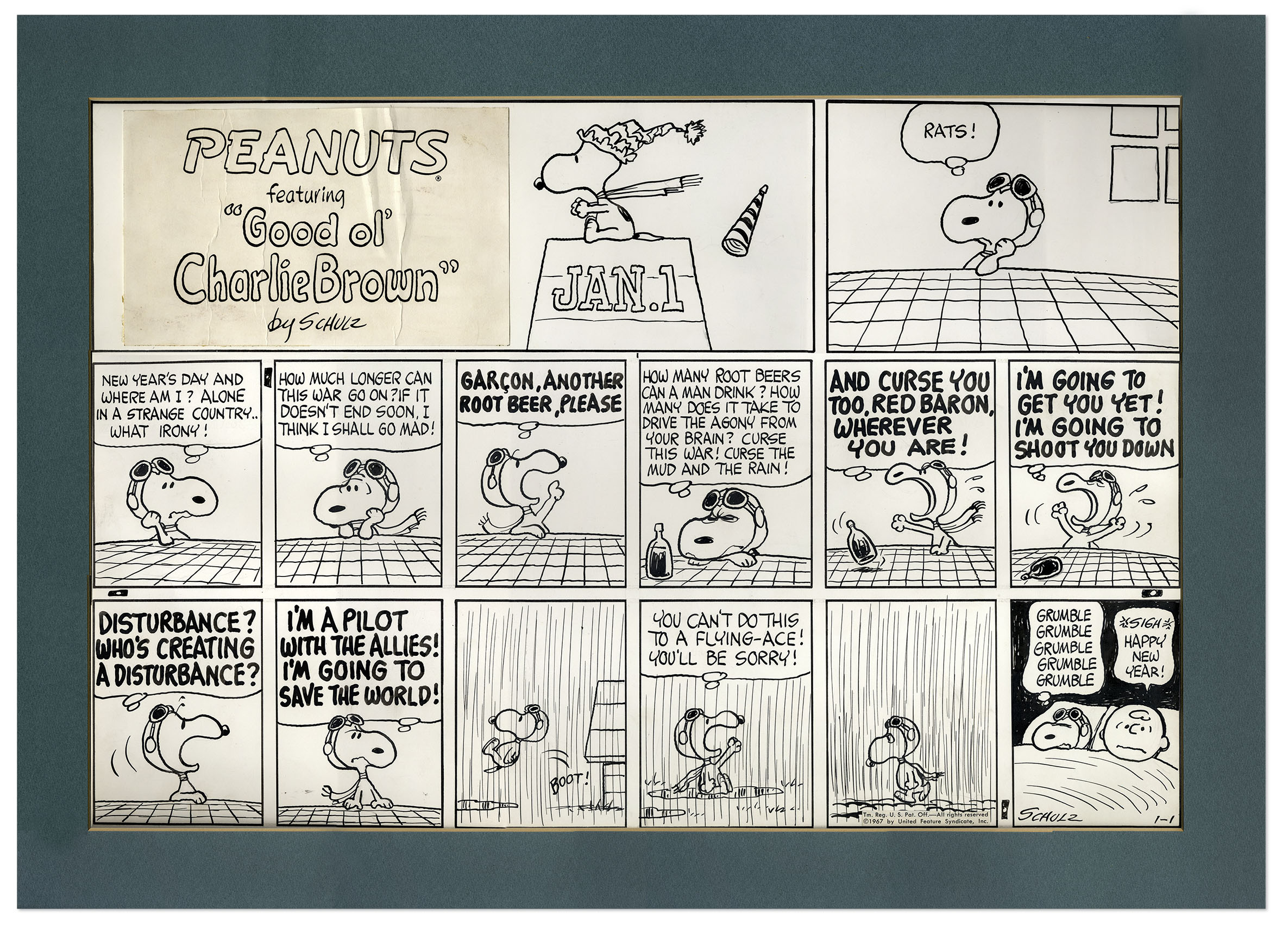 """This """"Red Baron'"""" Peanuts comic strip, hand-drawn by Charles Schulz, appeared on Sunday, Jan. 1, 1967 and featuring Snoopy and Charlie Brown. The 15-panel """"Peanuts"""" strip is currently up for auction at Nate D. Sanders Fine Autographs & Memorabilia and carries an $80,000 minimum bid."""