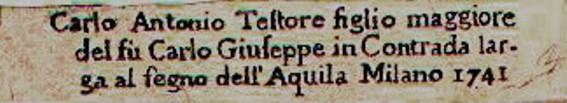 """A sample label (above) reads in Italian: """"Carlo Antonio Teflore figlio maggiore del fu Carlo guisseppe in Contrada largada al fegno del l'aquila milano 1741."""" It  roughly translates to (giving us the maker, the city, and the date): Carlo Antonio Teflore eldest son of the late Giuseppe Carlo Contrada of Milan 1741."""