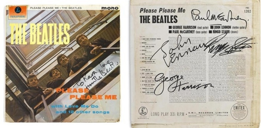 "A copy of The Beatles' album ""Please Please Me"" soared past it high estimate to sell for $37,500 in Bonhams' Entertainment Memorabilia and Animation Art auction on March 1."