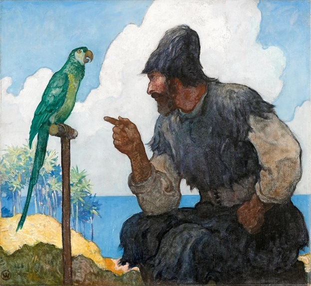 "This 1920 N.C. Wyeth illustration for ""Robinson Crusoe"" sold for $353,000 on June 7, 2015."