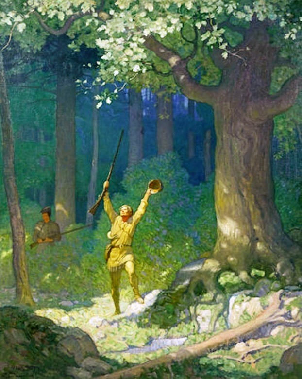 "This original 1925 artwork by N.C. Wyeth, painted for an internal illustration of ""The Deerslayer,"" sold at Bonhams for $1,325,000 on May 20, 2015."
