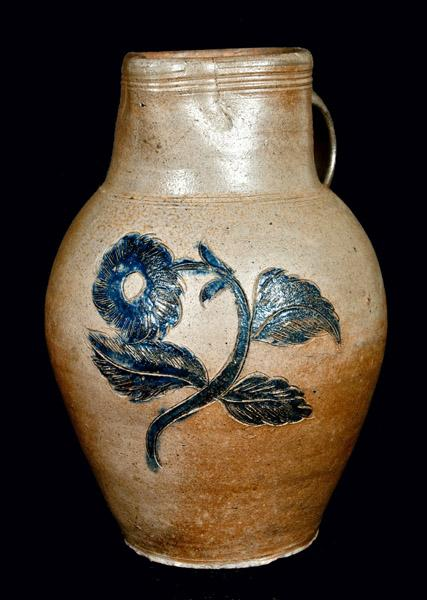 This one-gallon stoneware pitcher with incised floral decoration, attributed to Henry Remmey, Sr. or John Remmey III of New York from the late 18th or early 19th century, sold for $138,000 at an sale held by Crocker Farms auction house. This is just one of some 2,600 items from Crocker Farms that have been added to the 276 million sales items in the WorthPoint Worthopedia.