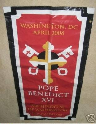 This banner, welcoming Pope Benedict XVI to Washington, D.C., in 2008, brought $200 in an eBay auction.