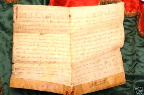 The oldest item relating to the pope found in the Worthopedia was this papal bull (an official decree) that allowed the Order of Poor Clares—a strict religious order of women—wine and pottage except on Fridays. Handwritten on vellum in 1245 and signed by Pope Innocent IV, it was auctioned for $4,626.