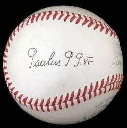 "This baseball with a black-ink signature that reads ""Paulus P P. VI"" is an example of an unusual piece of papal memorabilia. The ball was sold as is and without a PSA Letter of Authenticity due to the fact that the company will not authenticate these papal signed baseball. Still, it realized $2,784 in a 2008 auction."