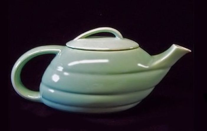 """The """"Aladdin"""" teapot design by Ray Murrary was produced in the 1940s and '50s in the colors of both decades. This is the large size and a Bauer classic."""