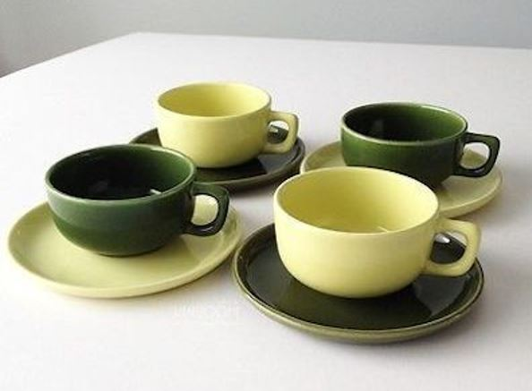Coffee cups and saucers from the Brusche Al Fresco dinnerware of the 1950s.