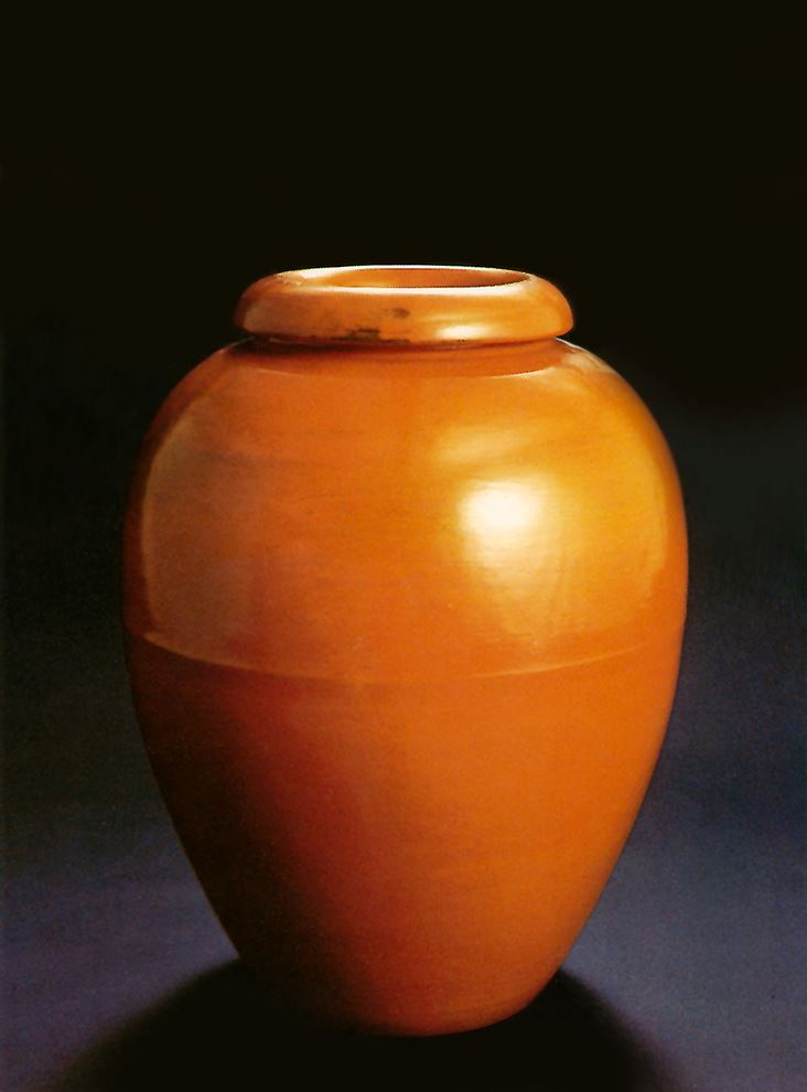 """Majestic oil jars, such as this were designed to decorate private porches and gardens in addition to public buildings. The photo was cover art for the first Bauer book by the author, """"The Complete Collectors Guide to Bauer Pottery."""""""